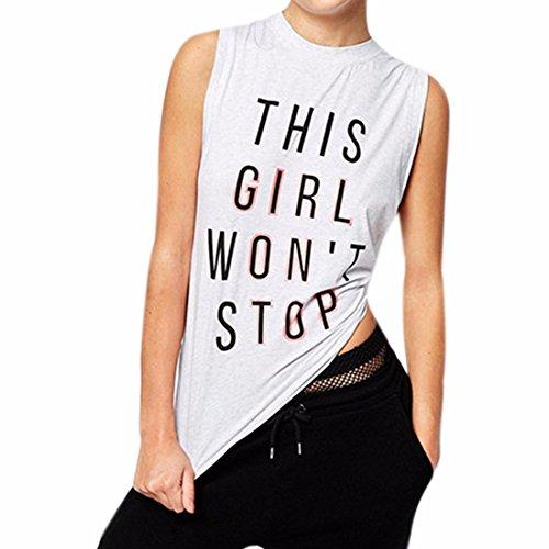 Europe Des Femmes De Blanc T-Shirt Sans Manches Mince Lettre Impression Chemise De Base De Veste Flottante Blanc