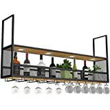 Amoureux du vin Mobilier de bar& Montage mural vin Porte en bois noir/plafond suspendu Porte-bouteille en métal/Cube Porte su