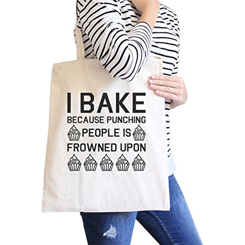 365 Printing inc , Borsa da spiaggia  Donna Adult-ish - Natural I Bake Because - Natural