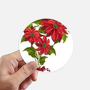DIYthinker Navidad de la Flor Poinsettia Rojo Ramo Redondas 10cm Pared Maleta portátil Motobike Decal 8pcs Diámetro 10cm