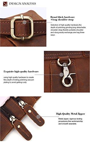 Gendi Hombres Vintage Fanny pequeña cartera de hombro del mensajero Paquete de la bolsa de la cintura de la correa del cuero genuino