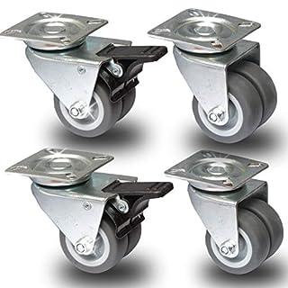 PRIOstahl® Transportrollen Doppelrollen Apparaterrollen Lenkrollen |50mm|Grau| 2 x Lenkrolle + 2 x Lenkrolle mit Bremse (SET 4 Rollen)
