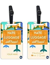 Personalized Metal Luggage Travel Baggage Tags From Nutcase - SET OF 2 TAGS - HAVE BAG WILL TRAVEL