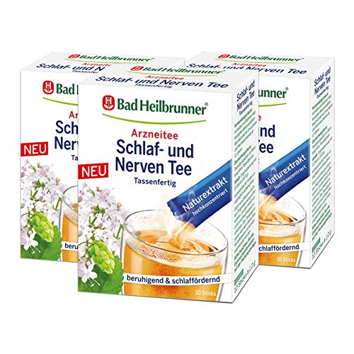 Bad Heilbrunner® Schlaf- und Nerven Tee, 10 Sticks, 3er Pack