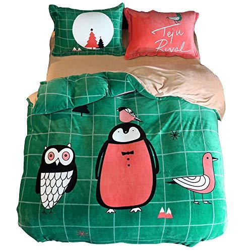 Lulu biancheria da letto set di 4 pezzi lenzuola, federe, copripiumini flanella caldo in autunno e in inverno cartone animato set di 4 pezzi 150 × 200 cm, 200 × 230 cm,g,200 * 230cm