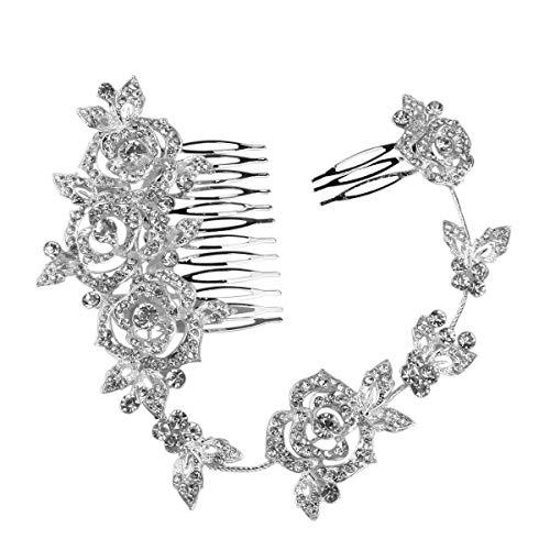 Party Kostüm Braut Stadt - Ishua 1 Stück Braut Kristall Strass Haarkamm Glitzernden Silber und Klarem Kristall Blütenblätter Haarkamm Hochzeit oder Prom Haarkamm Zubehör