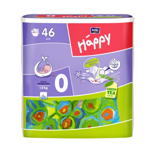 Bella Baby Happy Windeln Größe 0 Before Newborn < 2kg, 6er Pack (6 x 46 Windeln)