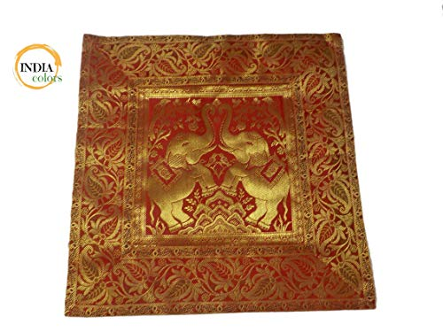 India colors. Cojín hindú Satin Silk Funda Bordado Artesanal Hecho a Mano en India. Tono 5
