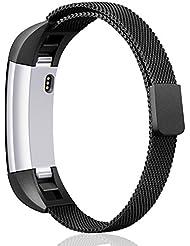 Fitbit Alta HR und Alta Armband, Mornex Milanese Edelstahlband, sportliches Uhrenarmband für Fitbit Alta HR mit Magnetverriegelung