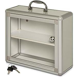 armoire pharmacie 2 compartiments et poign e argent 37 x 30 x 11 cm armoire m dicaments. Black Bedroom Furniture Sets. Home Design Ideas