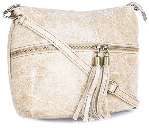 Big Handbag Shop donna vera pelle tasca frontale lunga Tassel Estrattore Borsa Nude