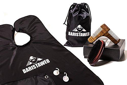 Baristaweb - Kit de cuidado de barba de madera y nailon con peine especial para barba, cepillo para barba y delantal para barba (con bolsa de tela de regalo)