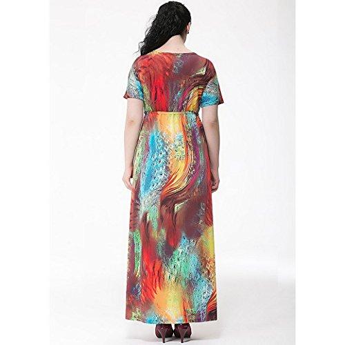 Feoya Damen Kleid Bohemian Fledermaus Ärmel Damenkleid Blumenmuster Sommerkleid V-Ausschnitt Maxikleid Frauen Strandkleid Lange Beach Kleider (Größe Wählbar) Mehrfarbig