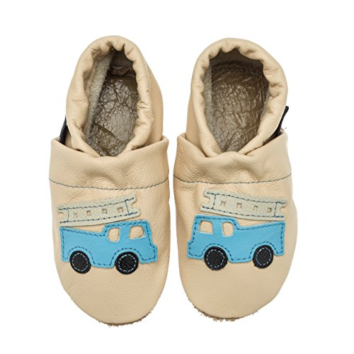 pantau.eu Leder Krabbelschuhe Babyschuhe Lederpuschen Lauflernschuhe mit Feuerwehr Apricot-Hellblau-Beige