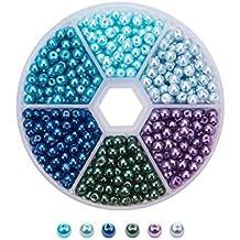 PandaHall - 1caja de cuentas/perlas de cristal redondas de 4mm para bisutería, colores surtidos, 4mm de diámetro, agujero: 1mm, contenido: 810 piezas/caja aprox.