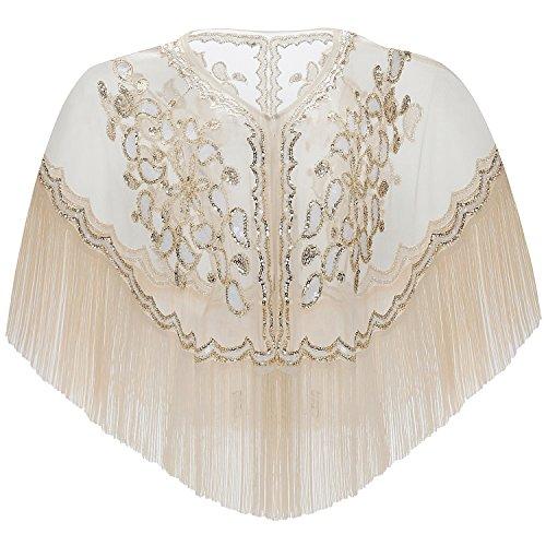 ArtiDeco 1920s Retro Schal Damen Stola Umschlagtücher für Abendkleid Hochzeit Party Braut Schal Gatsby Kostüm Accessoires (Beige Stil 1)