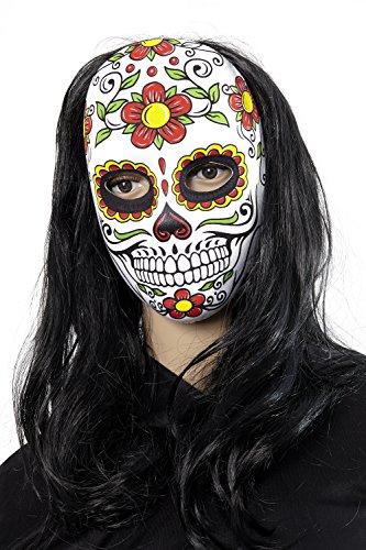 (Heitmann Deco Halloween-Maske für Erwachsene - Totenkopf-Maske passend zum mexikanischen Tag der Toten - Day of the Dead)