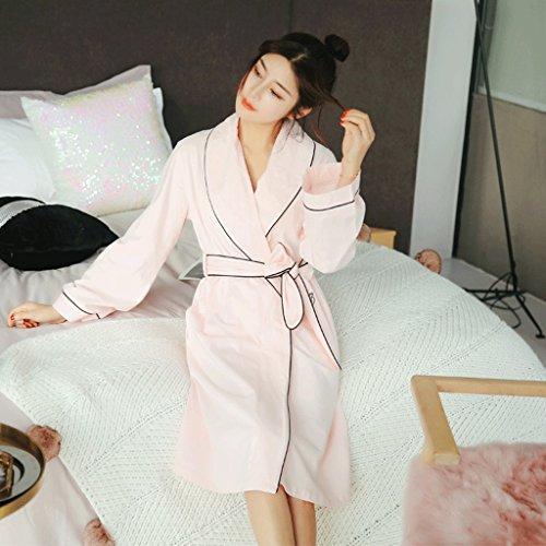 ZLR Lady Sweet Sleep Robe Autumn Season Sezione medio lunga Carino Accappatoio lungo-manicotto Puro cotone casa vestiti accappatoio ( Colore : B-cat , dimensioni : Xl ) C