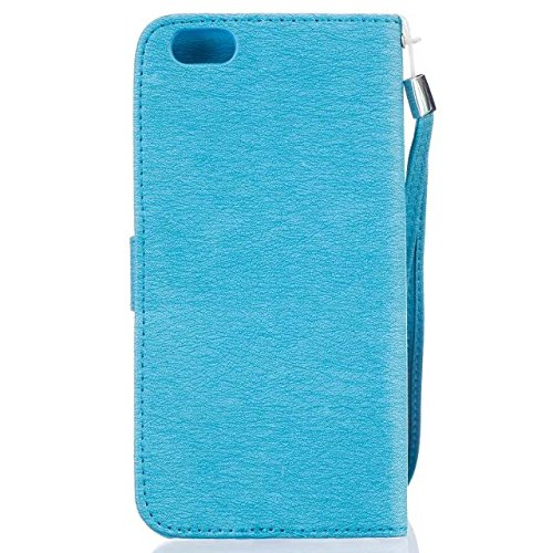 iPhone Case Cover couvrir standup cas de couverture pour iPhone 6 6S peint motif coloré cas de style portefeuille conception magnétique rabat folio en cuir PU, plus ( Color : Rose , Size : IPhone 6S P Blue