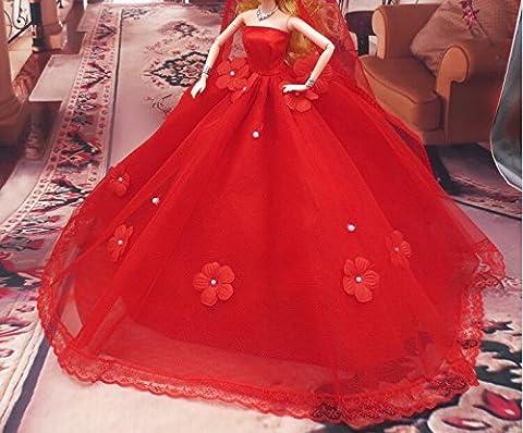 Youvinson Verschiedene Handmade Brautkleider und Kleider für Barbie-Puppen (Rote Blume)