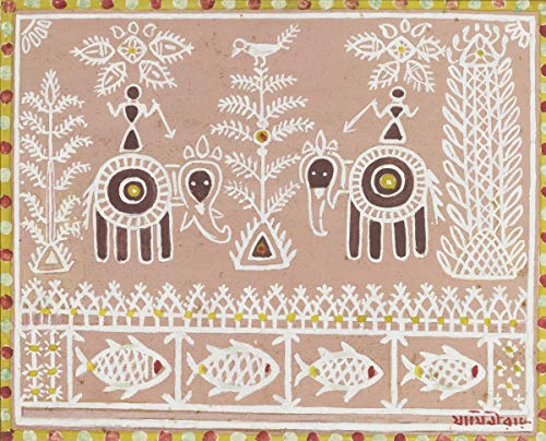 Berkin Arts Jamini Roy Giclee Lienzo Impresión Pintura póster Reproducción Print(Elefantes con...