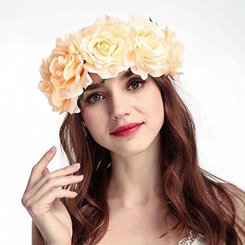 HOMEYU® Rose Flower Floral Crown Headband Garland Wedding Festival Wedding  Copricapo b35e1b816884