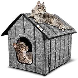 PUPPY KITTY Maison pour Chat Extérieur, Hiver Chat Cabane Niche, 52 x 42.5 x 42 cm, Facile à la Machine à Laver, Pliable avec Coussin Amovible Doux et Chaud pour Chat Chien Lapin Chiot