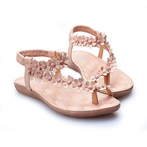 Flowers, toes, soft bottom, flat sandals, women's sandals, student shoes.,Pink,Thirty-five (Sandal Flower Pink)