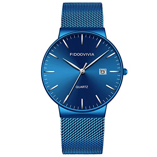 FIDOOVIVIA Mens Black Ultra Thin Watch Minimalist Fashion Luxury Wrist Watches for Men Business Dress Waterproof Casual Quartz Watch for Man with Stainless Steel Mesh Band