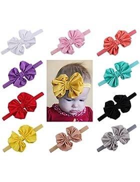 Emitha 10 piezas Recién nacido y bebés del pelo de la venda elástico Bebé pelo diadema