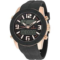 Reloj NOWLEY 8-5529-0-4 - Reloj hombre analógico y digital con cronógrafo, caja de metálica chapada en oro rosa, LCD retroiluminado y correra de silicona.