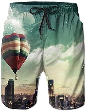 Hot Air Balloon Men's/Boys Casual Shorts Swim Trunks Swimwear Elastic Waist Beach Pants with Pockets
