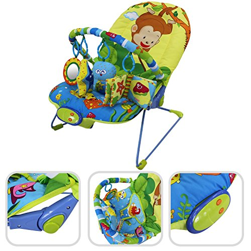 Todeco – Baby Bouncer, Bouncing Cradle – Size: 80 x 51 x 60 cm – Maximum load: 10 kg – Sea pattern 51mwh1So0KL
