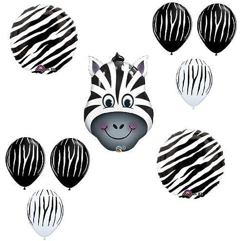 ZEBRA Jungle ZOO Safari Black White Stripes Party ANIMAL Mylar BALLOON Kit SET by LGP