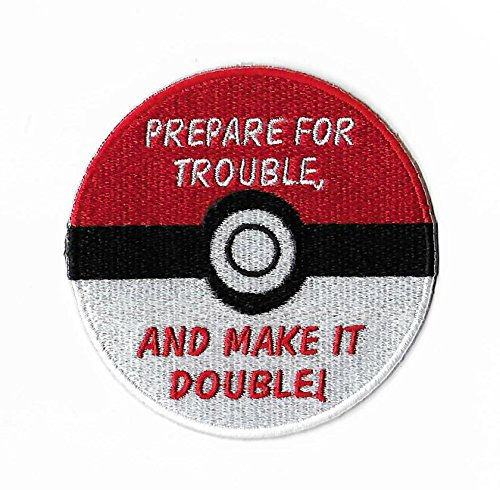 Team Rocket Pokeball Pokemon Patch Embroidered Iron on Badge Aufnäher Kostüm Fancy Kleid Master Ball Pokémon Cosplay Pokeball (Team Rocket Meowth Kostüm)