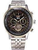 EASTPOLE Herren Armbanduhr Automatik Mechanik Uhr mit Silber Armband aus Edelstahl Datumanzeige + EASTPOLE Geschenkbox PMW321