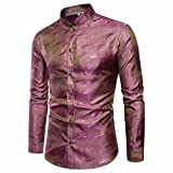VEMOW Herbst Frühling Winter Herrenhemd Slim Fit Langarm Casual Tagesgeschäft Business Formale Taste Shirts Formale Mid-Season Top Bluse(Rot, EU-54/CN-XL)