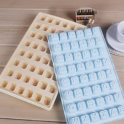Glas Briefe (1Pcs Silikon Schimmel Ice Cube Mould Tray Chocolate Candy Freeze Glas Party Brief zufällige Farbe)