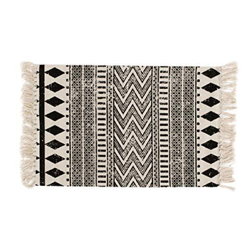 Renjie Kilim Negro Blanco 100% Algodón Salón Alfombra Geométrica Indian Rug Stripe Modern Mat Diseño...