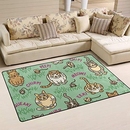 Bixungan Cats and Critters Area Rug Rugs Non-Slip Indoor Outdoor Floor Mat Doormats for Home Decor Size:16 X 24(40x60cm)