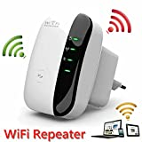 Wi-Fi Repeater Wireless Amplificatore Extender Amplificatore Wireless N Nero 300Mbps Mini Access Point AP WLAN IEEE802.11N / G / B Router di rete Segnale Booster 2.4GHz Adattatore di rete Antenne inte immagine