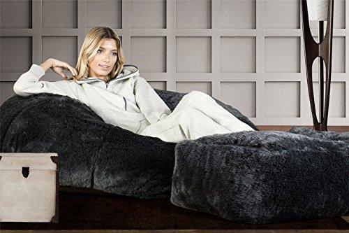 Lounge Pug®, Sitzsack Sofa, Relaxsessel, Kunstfell Schwarz