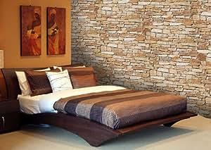 Papier peint pierre naturelle claire vT310 dimensions :  360 x 270 cm, papier peint photo, papier peint non tissé, high quality poster papier peint motif mur de pierre, grès