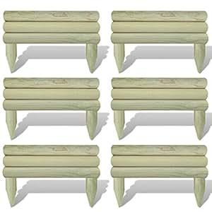 vidaxl 6x garten rasenkanten holz m hkante beeteinfassung. Black Bedroom Furniture Sets. Home Design Ideas