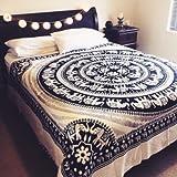 negro bonito y colgar en la pared blanca, extensión de la cama indio reina blanca AMARILLO HIPPIE ELEFANTE MANDALA TAPESTRY COLCHA Beach decoración del dormitorio