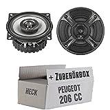 Peugeot 206 CC Heck - Helix - B 4X.2-10cm Koax Lautsprecher - Einbauset