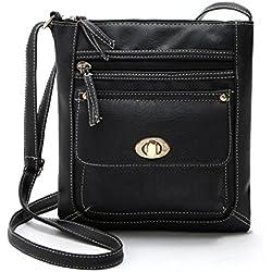 mochilas mujer Sannysis Bolso de cuero de la PU Bolsa de mensajero (Negro)