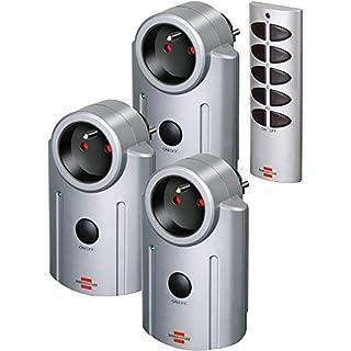 Brennenstuhl Primera-Line Kit de télécommande avec 3 prises télécommandées, set de commande à distance avec interrupteur marche-arrêt, gris, Quantité : 1