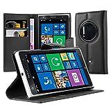 Cadorabo Hülle für Nokia Lumia 1020 Hülle in Phantom schwarz Handyhülle mit Kartenfach und Standfunktion Case Cover Schutzhülle Etui Tasche Book Klapp Style Phantom-Schwarz