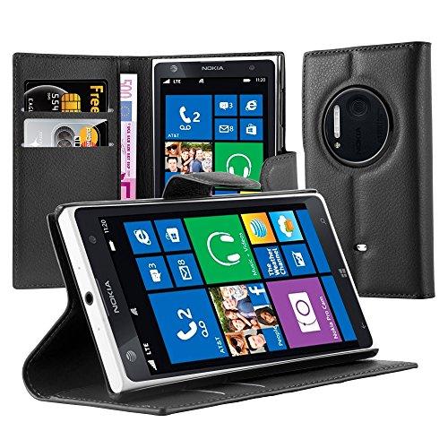 lle in SCHWARZ von Cadorabo - Handyhülle mit Kartenfach und Standfunktion Case Cover Schutzhülle Etui Tasche Book Klapp Style in PHANTOM SCHWARZ (Nokia Lumia 1020 Hard Hülle)